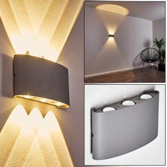 Abaiang Aussenwandleuchte LED Silber, 6-flammig
