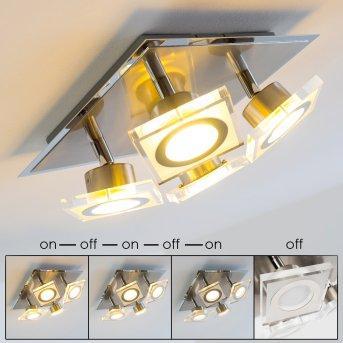 Deckenleuchte Kolari LED Nickel-Matt, Chrom, 4-flammig