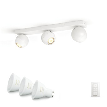 Philips Hue Ambiance White Buckram Deckenspot Basis-Set Weiß, 3-flammig, Fernbedienung