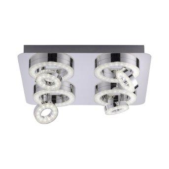 Leuchten Direkt Ls-TIM Deckenleuchte LED Chrom, 4-flammig, Fernbedienung, Farbwechsler
