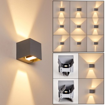 Fauderup Außenwandleuchte LED Grau, 2-flammig