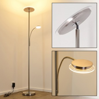 Veteli Deckenfluter LED Nickel-Matt, Chrom, 2-flammig