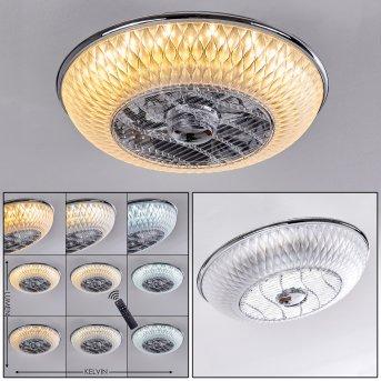 Sitges Deckenventilator LED Chrom, 1-flammig, Fernbedienung