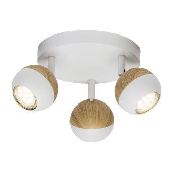 Brilliant Scan Spotrondell LED Weiß, Holz hell, 3-flammig