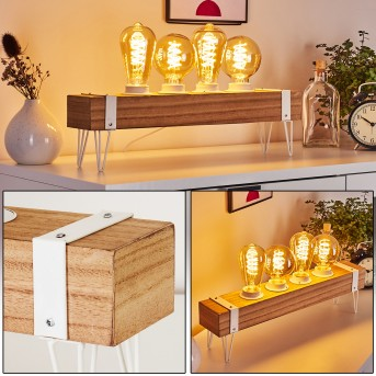 Torrevieja Tischleuchte Weiß, Holz hell, 4-flammig