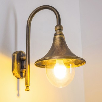 Elgin Aussenwandleuchte Schwarz-Gold, 1-flammig