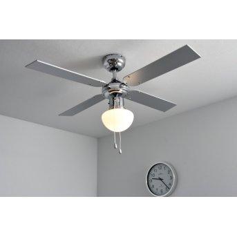 Globo CHAMPION Ventilator Chrom, Edelstahl, Weiß, 1-flammig