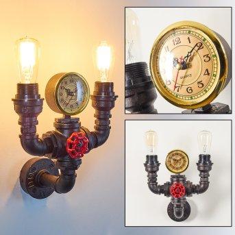 Amal Wandleuchte mit Uhr Schwarz, 2-flammig