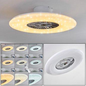 Petrovac Deckenventilator LED Chrom, Weiß, 1-flammig, Fernbedienung