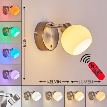 Motala Wandleuchte LED Nickel-Matt, 1-flammig, Fernbedienung, Farbwechsler